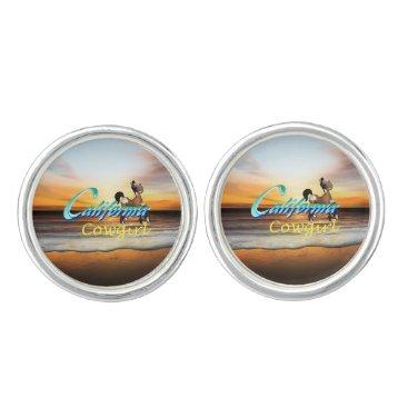 Beach Themed TEE California Cowgirl Cufflinks