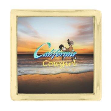 Beach Themed TEE California Cowgirl Gold Finish Lapel Pin
