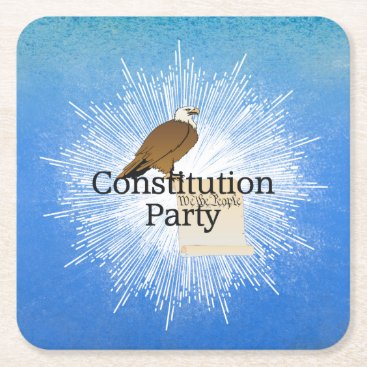 USA Themed TEE Constitution Party Square Paper Coaster