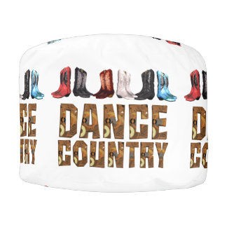 TEE Country Line Dance Round Pouf