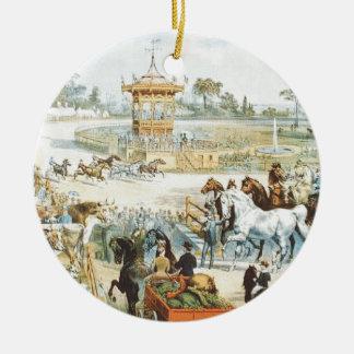 TEE County Fair Double-Sided Ceramic Round Christmas Ornament