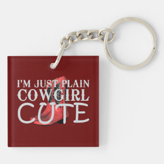 TEE Cowgirl Cute Double-Sided Square Acrylic Keychain