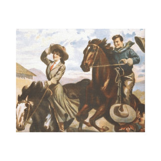 TEE Cowgirl Old School Canvas Print