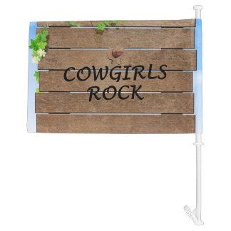 TEE Cowgirls Rock Car Flag