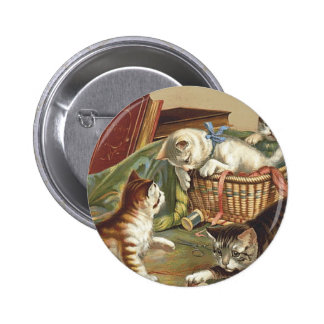 TEE Curious Cat 2 Inch Round Button
