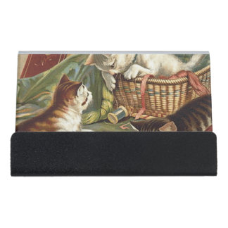 TEE Curious Cat Desk Business Card Holder