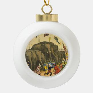 TEE Elephant Acrobats Ceramic Ball Christmas Ornament