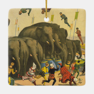 TEE Elephant Acrobats Ceramic Ornament