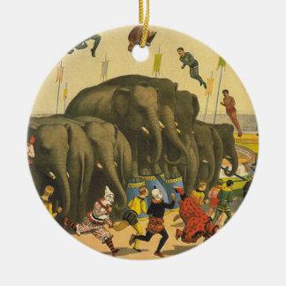 TEE Elephant Acrobats Double-Sided Ceramic Round Christmas Ornament