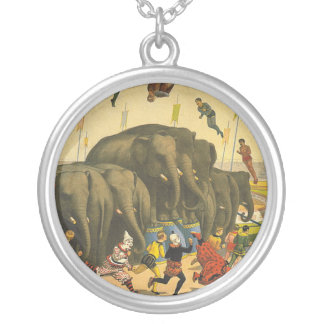 TEE Elephant Acrobats Silver Plated Necklace