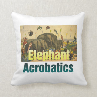 TEE Elephant Acrobats Throw Pillow