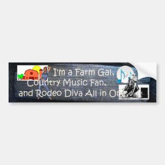TEE Farm Diva Car Bumper Sticker