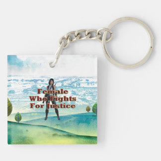 TEE Female Justice Double-Sided Square Acrylic Keychain