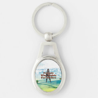 TEE Female Justice Silver-Colored Oval Metal Keychain