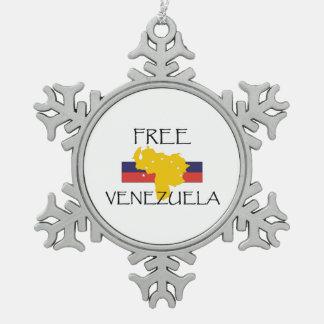 TEE Free Venezuela Snowflake Pewter Christmas Ornament