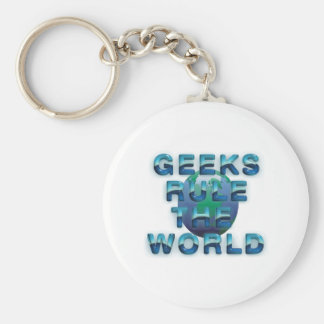 TEE Geeks Rule the World Basic Round Button Keychain