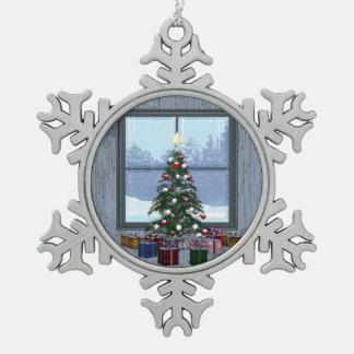 TEE Gift Tree Snowflake Pewter Christmas Ornament