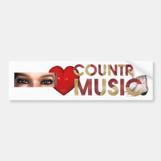 TEE I Love Country Music Car Bumper Sticker