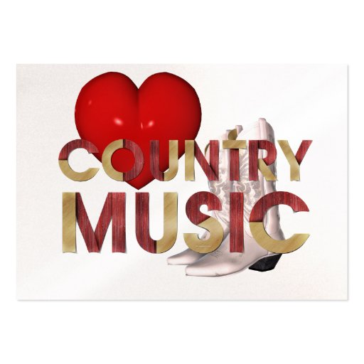 TEE I Love Country Music Large Business Cards (Pack Of 100)