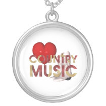 TEE I Love Country Music Silver Plated Necklace