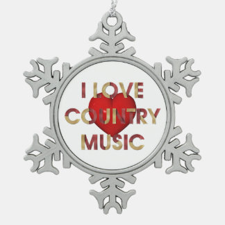 TEE I Love Country Music Snowflake Pewter Christmas Ornament