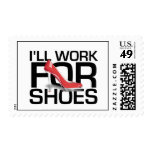 TEE I Work For Shoes Postage Stamps