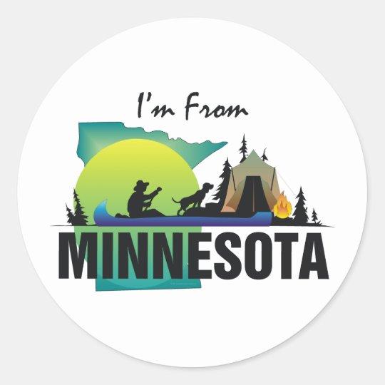 TEE I'm From Minnesota Classic Round Sticker