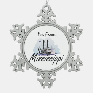 TEE I'm from Mississippi Snowflake Pewter Christmas Ornament