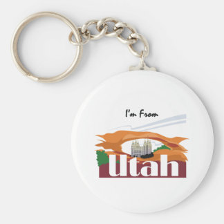 TEE I'm From Utah Basic Round Button Keychain