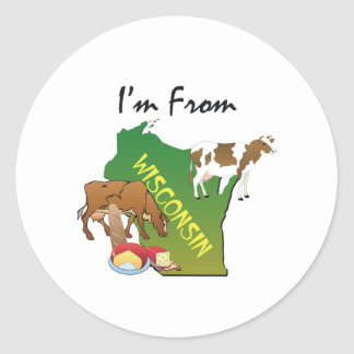 TEE I'm From Wisconsin Classic Round Sticker