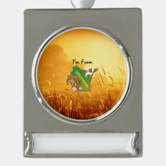 TEE I'm from Wisconson Silver Plated Banner Ornament
