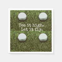 Tee it high. Let it fly. golf ball with tee Paper Napkin