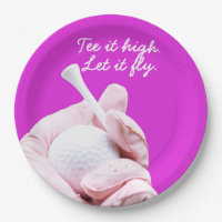 Tee it high. Let it fly. Lady golfer Paper Plate