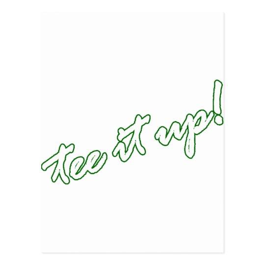 Tee it up! golf goodies postcard