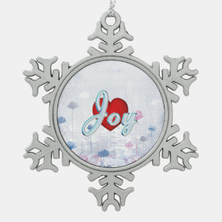 TEE Joy Snowflake Pewter Christmas Ornament