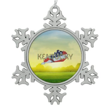 TEE Kentucky Patriot Snowflake Pewter Christmas Ornament