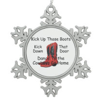 TEE Kick Up Those Boots Snowflake Pewter Christmas Ornament