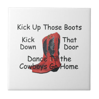 TEE Kick Up Those Boots Small Square Tile