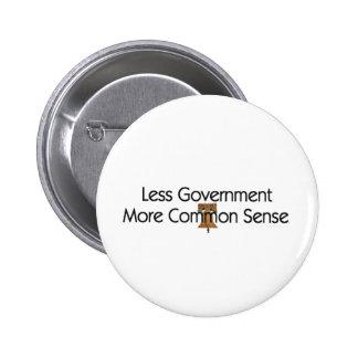 TEE Less Government More Common Sense Pinback Button