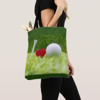 Tee love golf ball I love golf Tote Bag