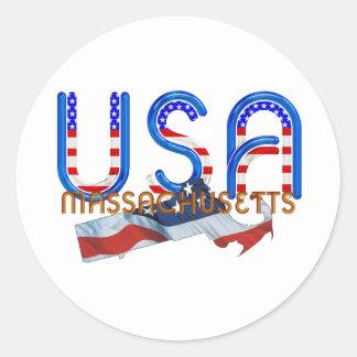 TEE Massachusetts Patriot Classic Round Sticker