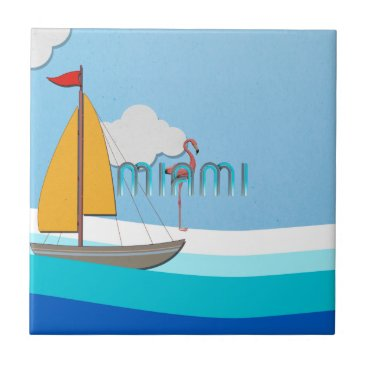 Beach Themed TEE Miami Ceramic Tile