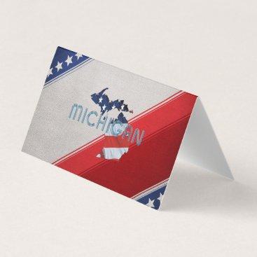 USA Themed TEE Michigan Patriot Business Card