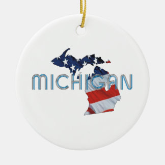 TEE Michigan Patriot Double-Sided Ceramic Round Christmas Ornament