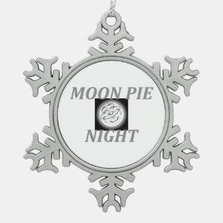 TEE Moon Pie Night Snowflake Pewter Christmas Ornament