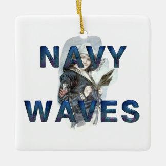 TEE Navy Waves Ceramic Ornament