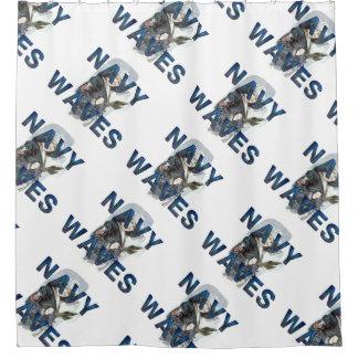 TEE Navy Waves Shower Curtain