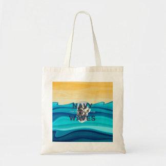 TEE Navy Waves Tote Bag