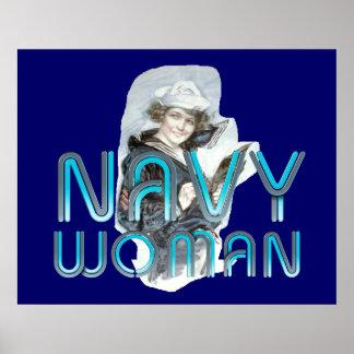 TEE Navy Woman Print