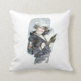 TEE Navy Woman Throw Pillow